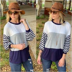 Navy Color Block Shirt